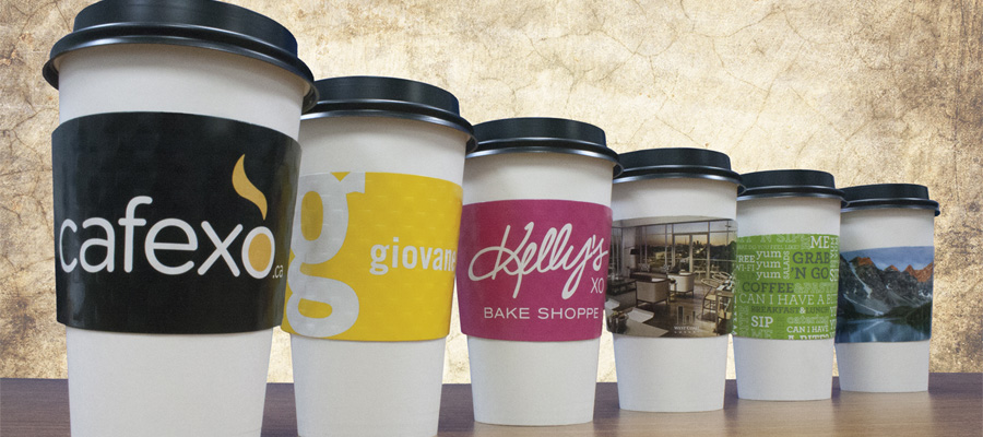 Full colour coffee sleeves printed with custom graphics and logos